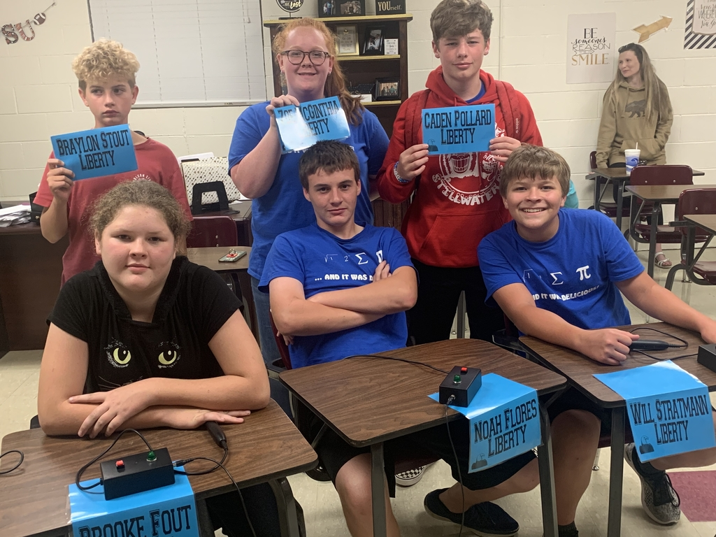 7th and 8th Quiz Bowl Team.    Brooke Fout, Noah Flores, Will Stratmann, Braylon Stout, Zoe McGinthia, Caden Pollard