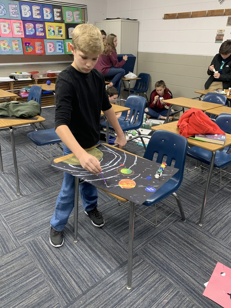 7th grade working on their Solar System Project
